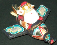 FUN HAND PAINTED RUSSIAN SANTA CLAUS FLYING AN AIRPLANE #5986