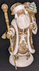WOW! EXQUISITE HAND CARVED & HAND PAINTED WOODEN SANTA CLAUS w/TOY SACK #6612