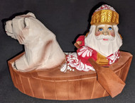 BEAUTIFUL RUSSIAN HAND CARVED & PAINTED SANTA CLAUS & POLAR BEAR IN A CANOE 2678