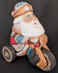 FUN HAND PAINTED RUSSIAN SANTA CLAUS RIDING A TRICYCLE #4432