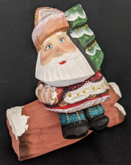FUN HAND PAINTED RUSSIAN SANTA CLAUS SITTING ON A LOG #8818