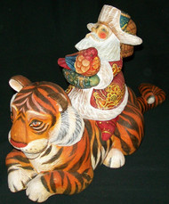 WOW! HAND CARVED & PAINTED SANTA SITTING ON A BRIGHTLY COLORED TIGER #7691