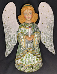 WOW! BEAUTIFUL FLORAL HAND PAINTED LINDEN WOOD ANGEL STATUE GREEN w/CANDLE #1017