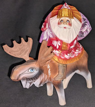 FUN HAND PAINTED RUSSIAN LINDEN WOOD SANTA CLAUS RIDING A MOOSE #6689