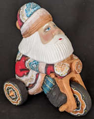 FUN HAND PAINTED RUSSIAN SANTA CLAUS RIDING A TRICYCLE #4404