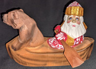BEAUTIFUL RUSSIAN HAND CARVED & PAINTED SANTA CLAUS & BROWN BEAR IN A CANOE 2661