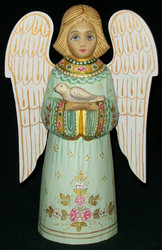 HANDPAINTED GREEN & PINK RUSSIAN LINDEN WOOD ANGEL HOLDING A DOVE #0282