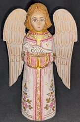 HANDPAINTED WHITE, PINK & GOLD RUSSIAN LINDEN WOOD ANGEL HOLDING A DOVE #0109