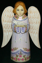 HANDPAINTED LAVENDER & GOLD RUSSIAN LINDEN WOOD ANGEL HOLDING A DOVE #0384