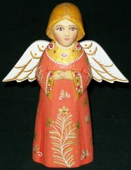 A SWEET LITTLE HAND CARVED & HAND PAINTED RUSSIAN ANGEL #6011