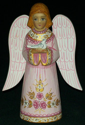 FANTASTIC ROSE & GOLD COLORED HAND PAINTED RUSSIAN ANGEL STATUE #0250
