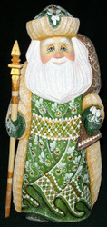 HAND PAINTED GREEN & TAN RUSSIAN SANTA #5338 HAND CARVED & PAINTED WOODEN STATUE