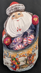 GRANDFATHER FROST w/ CANDY HOLDER #0265 – HAND CARVED & PAINTED RUSSIAN STATUE