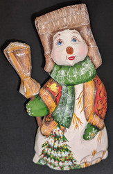 A FUN, WHIMSICAL HAND CARVED & HAND PAINTED RED, GREEN & GOLD SNOWMAN #2836