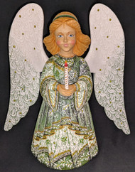 WOW! BEAUTIFUL FLORAL HAND PAINTED LINDEN WOOD ANGEL STATUE GREEN w/CANDLE #1039