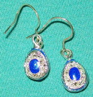 BEAUTIFUL BLUE & SILVER FABERGE RUSSIAN EGG EARRINGS w/ CRYSTALS #2681