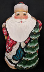 BEAUTIFUL RUSSIAN SANTA  w/ CHRISTMAS TREE - HAND PAINTED WOODEN STATUE #5480