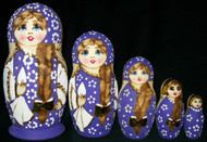 RUSSIAN HAND PAINTED 5PC ETCHED NESTING DOLL - PURPLE #7518