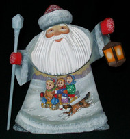 HAND CARVED & HAND PAINTED RUSSIAN SCENIC SANTA CLAUS w/LANTERN & CHILDREN #7775