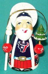 WOW! HAND CRAFTED HOUSTON TEXANS WOODEN SANTA CLAUS TREE ORNAMENT