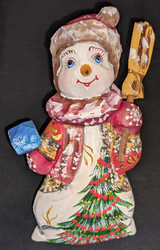 A SWEET HAND CARVED & HAND PAINTED RUSSIAN SNOWWOMAN/SNOWLADY #2791 SNOWMAN