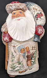 FANTASTIC RUSSIAN SCENIC SANTA CLAUS w/SWEET GIRLS #0314 HANDPAINTED LINDEN WOOD