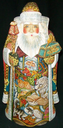 WONDERFUL HAND PAINTED SCENIC RUSSIAN SANTA CLAUS POLAR BEAR READING STORY #9325