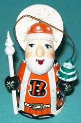 WOW! HAND CRAFTED CINCINNATI BENGALS WOODEN SANTA CLAUS TREE ORNAMENT