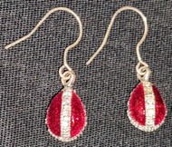 REMARKABLE FABERGE RUSSIAN EGG EARRINGS - RED & SILVER w/ WHITE CRYSTALS #2694