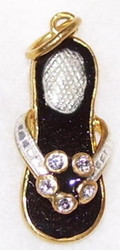 Handcrafted Russian Faberge Flip Flop Charm BLACK, GOLD w/ WHITE CRYSTALS #1508