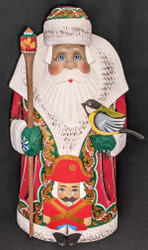 MARVELOUS HAND PAINTED RUSSIAN SANTA CLAUS w/NUTCRACKER SOLDIER & BIRD #8837