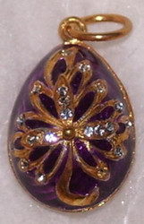 PURPLE & GOLD FLORAL LEAF PATTERN Russian Faberge Egg Charm - w/ CRYSTALS #1583
