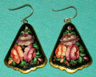 PINK, PURPLE, PEACH FLORAL FAN SHAPED RUSSIAN PAPIER MACHE EARRINGS #7797