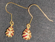 FANTASTIC RUBY-RED & GOLD RUSSIAN FABERGE EGG EARRINGS #2683
