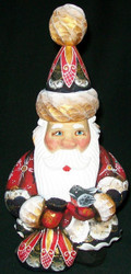 DELIGHTFUL HAND CARVED & PAINTED RUSSIAN SANTA CLAUS w/TOY SACK & BIRD #1146