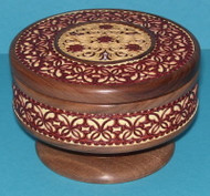 Red Flowers #1528 - Intricately Handcrafted Russian Nutwood & Birch Box