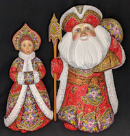 WOW! UNBELIEVABLE BRIGHT RED HANDPAINTED FLORAL RUSSIAN SANTA & MRS CLAUS #3156