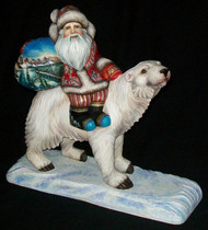 WOW! Unbelievable Handcarved, Handpainted Russian Santa Riding Polar Bear #4621