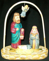 LOVELY HAND CARVED & HAND PAINTED RUSSIAN NATIVITY SET - HOLY FAMILY #0605