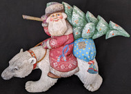 WOW! FANTASTIC HAND CARVED & PAINTED RUSSIAN SANTA CLAUS ON A POLAR BEAR #1951