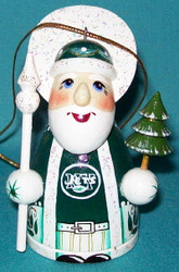WOW! HAND CRAFTED NEW YORK JETS WOODEN SANTA CLAUS TREE ORNAMENT