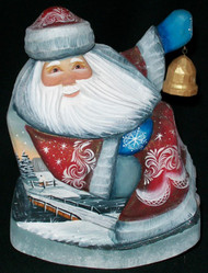 HAND CARVED & HAND PAINTED RUSSIAN SANTA IN ROCKING CHAIR w/GOLDEN BELL #2496