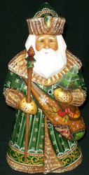 INCREDIBLE HANDPAINTED RUSSIAN LINDEN WOOD SANTA CLAUS w/MAIL-GIFT SATCHEL #8660