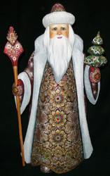 WOW! GORGEOUS HAND PAINTED RED & GOLD RUSSIAN SANTA CLAUS w/BEADED CLOAK #3950