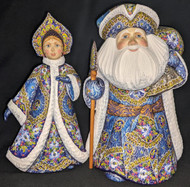 WOW! ELEGANT HAND CARVED & HANDPAINTED WINTER BLUE FORAL SANTA & MRS CLAUS #3176