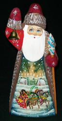 Bell Ringing Russian Hand Painted Linden Wood Santa w/ Troika #1021