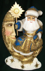 WOW! BLUE & GOLD HAND CARVED & PAINTED SANTA CLAUS SITTING ON THE MOON #1816