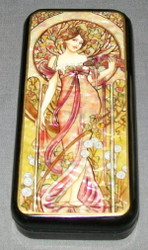 LOVELY MAIDEN - RUSSIAN HANDPAINTED MOTHER OF PEARL LACQUER BOX #0690 PINK LADY