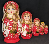 RUSSIAN HAND PAINTED 5PC ETCHED NESTING DOLL - BRIGHT RED #7599