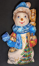 A SWEET HAND CARVED & HAND PAINTED RUSSIAN SNOWWOMAN/SNOWLADY #2806 SNOWMAN